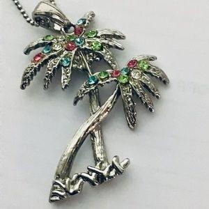 Colorful Swarovski Crystals palms necklace